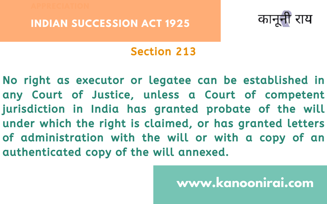 Section 213 Indian Succession Act: Right as executor or legatee