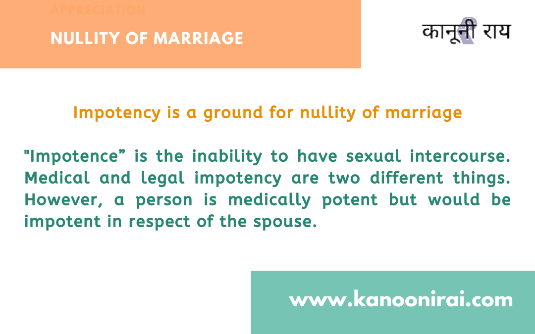 Wife claiming divorce on the false ground of impotency