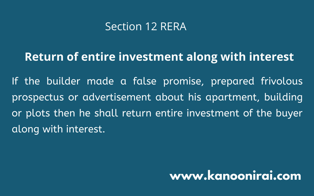 Section 12: The RERA 2016