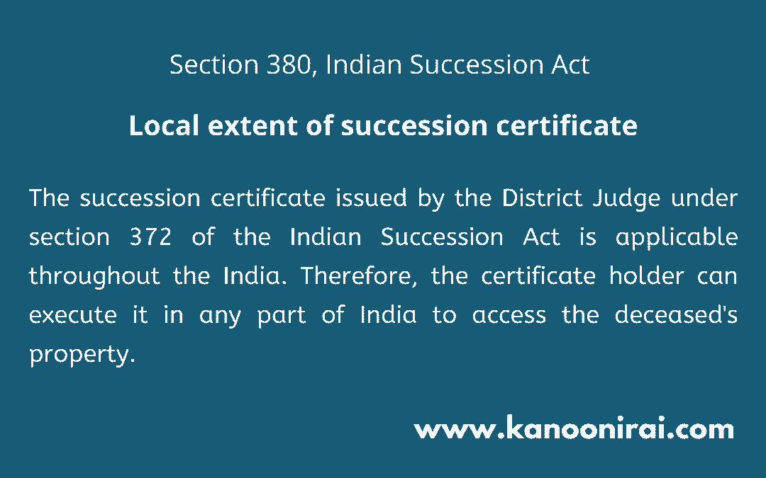 Section 380 of the Indian Succession Act 1925